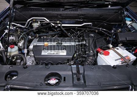 Novosibirsk, Russia - February 19, 2020:   Honda Cr-v, Close Up Detail Of  Car Engine, Front View. I