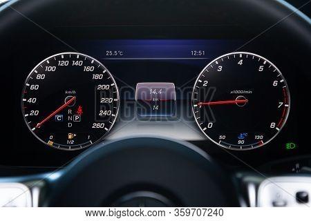 Novosibirsk, Russia - April 03, 2020:   Mercedes-benz E-class, Ound Speedometer, Odometer With A Ran