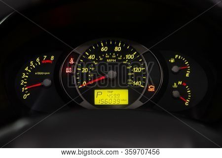 Novosibirsk, Russia - February 10, 2020:   Tucson Hyundai,   Ound Speedometer, Odometer With A Range