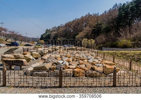 Chungju, South Korea; April 3, 2020: Collection Of Rocks And Boulders Excavated At Sangdang Mountain