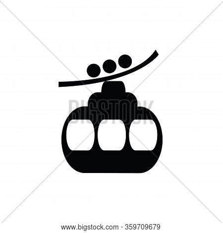 Ski Cable Lift Icon For Ski And Winter Sports. Design For Tourist Catalog, Maps Of The Ski Slopes, P