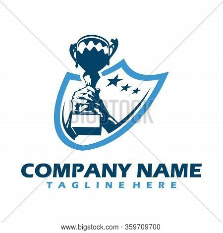 Trophy Cup Vector Winner Logo Design. Gold Cup Trophy Icon. Winner Award Sign. First Place Cup Symbo