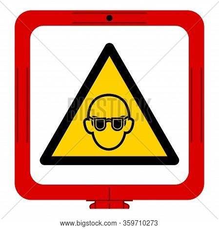 Warning Wear Safety Glasses Must Be Worn Symbol Sign, Vector Illustration, Isolated On White Backgro