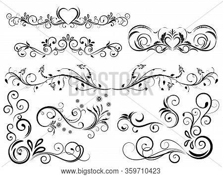 Set Of  Vintage Floral Ornament, Hand Drawn Decorative Element, Vector Illustration Of Floral Elemen