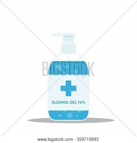 Alcohol Gel. Hand Wash Gel Vector. Hand Wash Gel And Bacteria Vector.hand Sanitizer Pump Bottle, Was