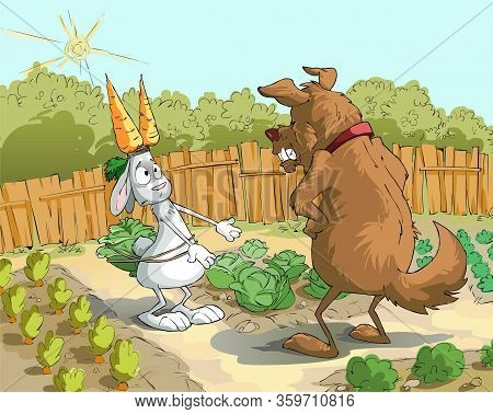 Caricature. The Guard Dog Caught The Rabbit Who Stole The Carrot
