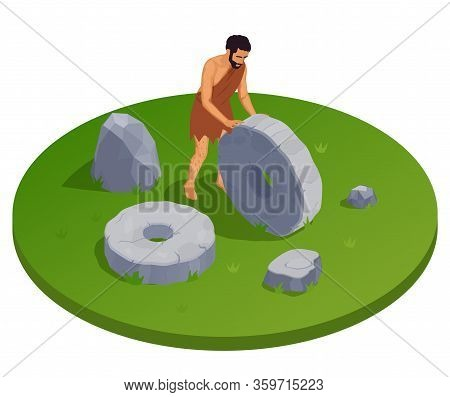 Caveman Prehistoric Primitive People Round Isometric Composition With Ancient Human Character Trundl