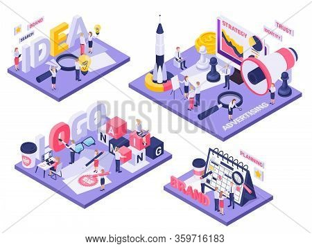 Branding Concept 4 Isometric Compositions With Logo Identity Creating Ideas Planning Launch Spacecra