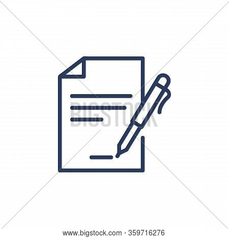 Contract Signing Thin Icon. Document With Pen, Paper, Agreement, Signature. Line Icon For Business,