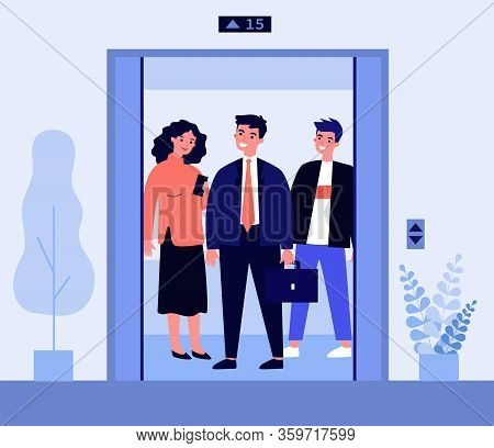 Positive People Standing On Elevator Cab. Men And Woman Standing Inside Lift Cabin With Open Doors.
