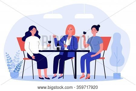 Happy Female Friends Hanging Out In Cafe. Cheerful Women Sitting At Table, Talking, Laughing, Drinki