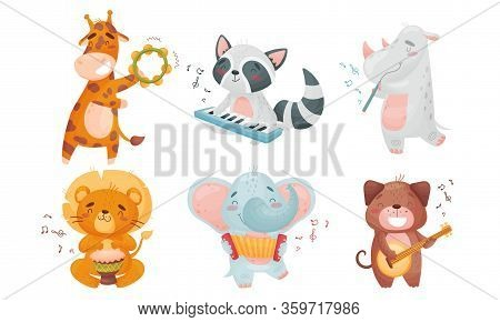 Cartoon Animals Playing Musical Instruments With Hippo Fluting Vector Set