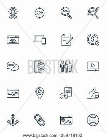 Outline Vector Icons Set For Web, Website And Mobile. Thin Line Seo Icons Collection For Dashboard.
