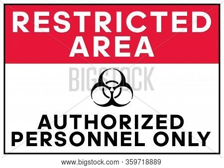Biohazard Warning Restricted Area Authorized Personnel Only Poster. Biohazard Caution Signs. No Entr