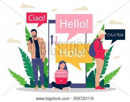 Online Multi Language Translator Flat Vector Illustration. Smartphone With Translation App. People L