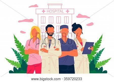 Hospital Doctor Staff. Physician, Practitioner With Stethoscope, Surgeon Flat Vector Illustration. H