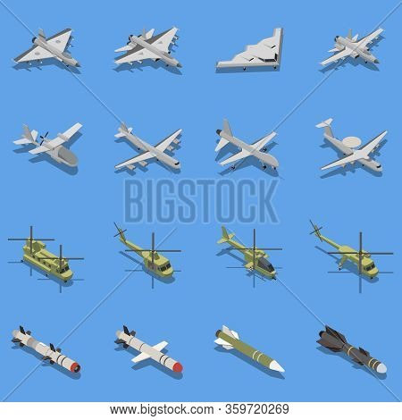 Military Air Forces Isometric Set With Intercontinental Ballistic Missile Stealth Bomber Fighter Att