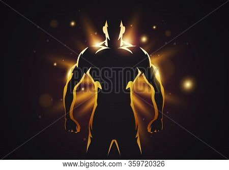 Vector Illustration Silhouette Of Strong Man With Muscles On Golden Glow Background