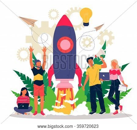 Business Project Start Flat Vector Illustration. Idea Realization Through Teamwork, Planning, And St