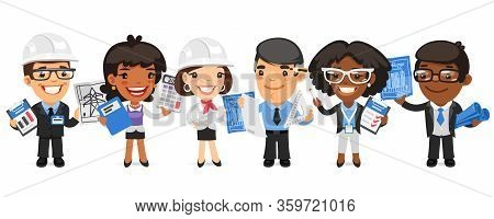 A Group Of Cartoon Architectural Bureau Workers Characters With Different Roles Stand On A White Bac