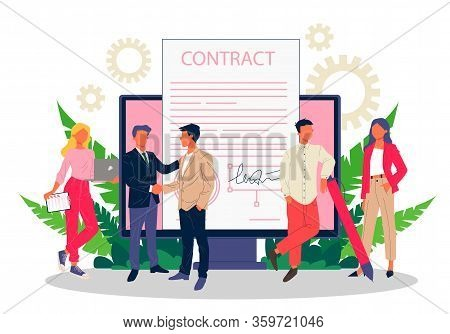 Business People Signing Contract With Electronic Signature Vector Illustration. Employees Achieving