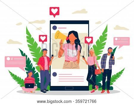 Blogger Promoting Goods And Services For Followers Online Vector Illustration. Potential Product Con