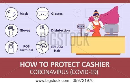 Infographics How To Protect Cashier At Grocery Store From Infection Coronovirus. Seller Behind Store