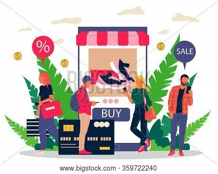 People Shopping Goods Online Using Mobile Application Vector Illustration. Customers Ordering Sneake