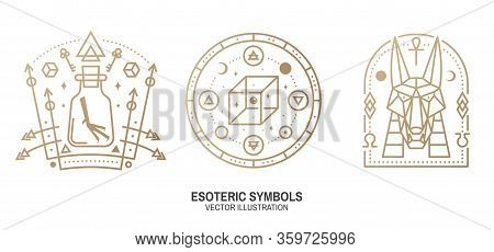 Esoteric Symbols. Vector. Thin Line Geometric Badge. Outline Icon For Alchemy, Sacred Geometry. Myst