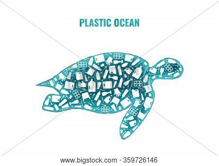 Stop Ocean Plastic Pollution Concept Vector Illustration. Turtle Marine Reptile Silhouette Filled Wi