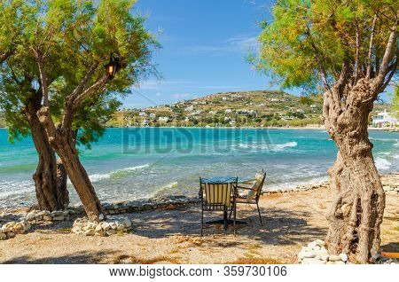Romantic Tavern Among Trees By The Sea On Paros Island, Cyclades, Greece. Europe.