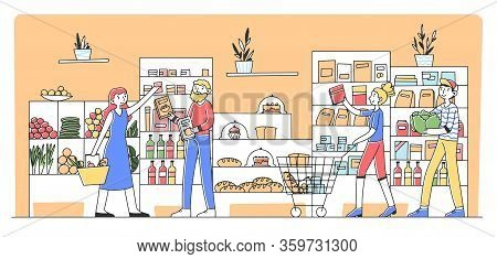 Cartoon People Buying Products At Grocery Store Flat Vector Illustration. Consumers And Customers Ch