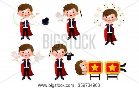 Young Man Magician With Magic Objects Doing Miracles Vector Illustration