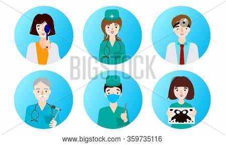 Ent Doctors, General Practitioners, Oculists And Patients In Clinic In Clinic