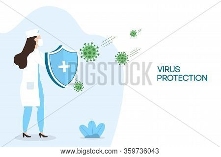 Coronavirus Protection. Woman Doctor With Security Shield For Virus Protection. Nurse Fighting Coron