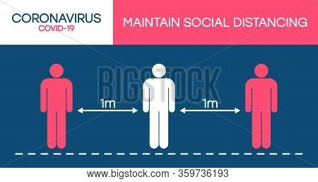 Social Distancing Sign. Keep Distance, Avoid Covid-19. Keeping Distance Of 1 Meter In Public Places