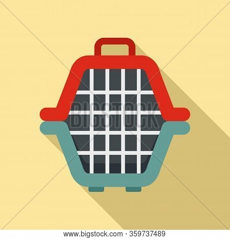 Dog Portable Box Icon. Flat Illustration Of Dog Portable Box Vector Icon For Web Design