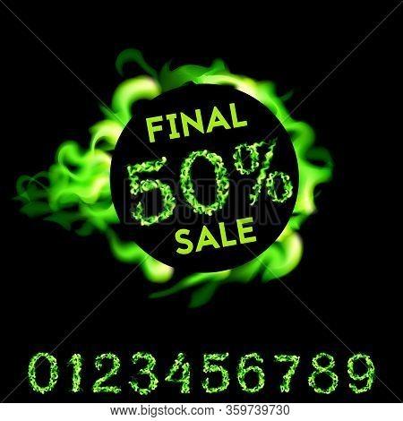 50 Percent Final Sale. Green Fire Design On Black Background. Vector Illustration