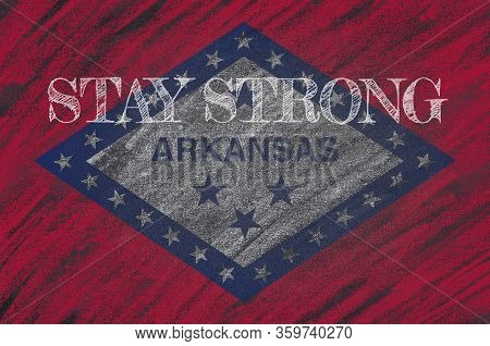 Covid-19 Warning. Quarantine Zone Covid 19 On Arkansas, Flag Illustration. Coronavirus Danger Area,