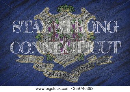Covid-19 Warning. Quarantine Zone Covid 19 On Connecticut ,flag Illustration. Coronavirus Danger Are