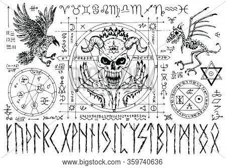 Ouija Magic Spiritual Board Design With Evil Face, Runes And Pentacle On White Background. Esoteric,