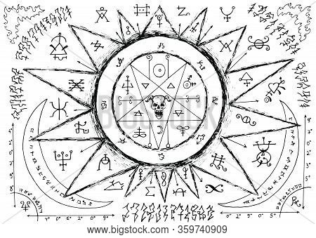 Ouija Magic Spiritual Board Design With Pentagram, Demon Face And Alchemy Signs.
