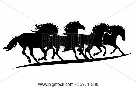 Herd Of Wild Mustang Horses Rushing Forward - Black Vector Silhouette Outlines Of Running Animals Gr