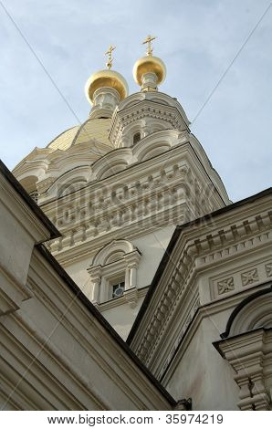 Christian cathedral with golden domes in Sebastopol poster