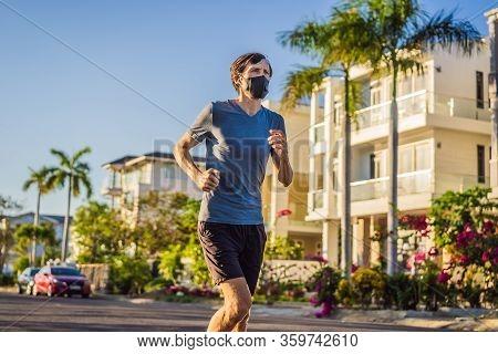 Runner Wearing Medical Mask, Coronavirus Pandemic Covid-19. Sport, Active Life In Quarantine Surgica