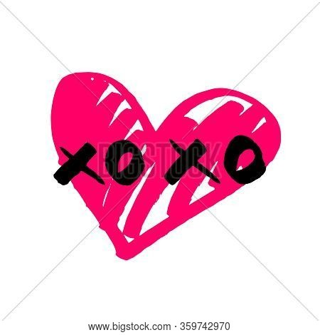 Xoxo With Pink Heart Isolated On White Background