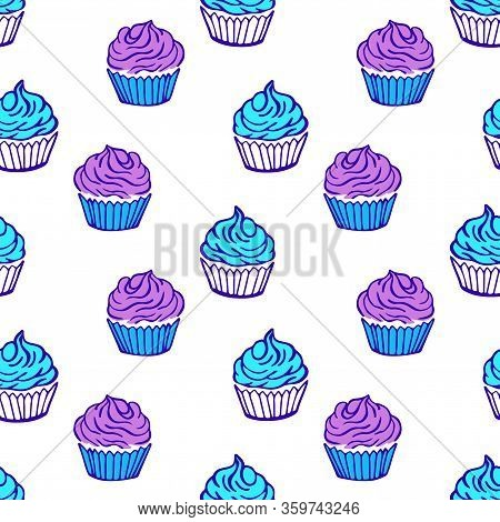 Cupcake Seamless Pattern With White Background. Colorful Cupcakes Vector Illustration. Yummy Dessert