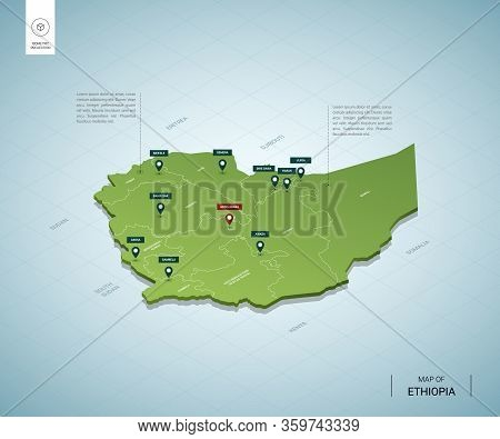 Stylized Map Of Ethiopia. Isometric 3d Green Map With Cities, Borders, Capital Addis Ababa, Regions.