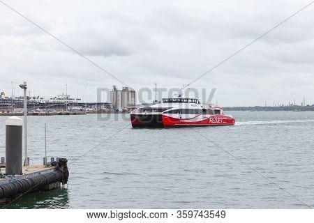 Southampton, United Kingdom - April 24, 2019: Fast Passenger Ferry Arrives The Port Of Southampton.
