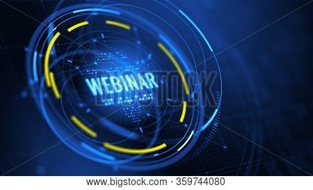 Webinar, Online Education and Training concept -Abstract Webinar Composition. 3d rendering